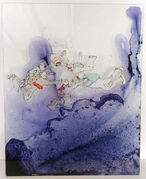 Cristina Ohlmer, FREIER FALL 6er Kreis oben, 2020, 50 x 40cm Tusche/Lacke hinter Glas, Courtesy the artist